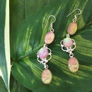 Jewelry - Beautiful Opalescent Pink Drop Dangle Earring